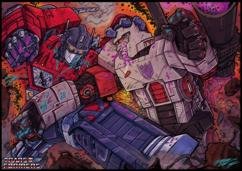 Optimus vs Megatron by grifth