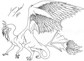 Line Art for Featherwing Dragon by kingy9467