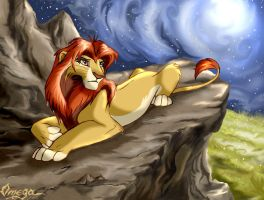 Simba on the rock by OmegaLioness