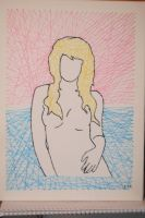 needle and thread drawing of a blonde women by saxclonetrooper