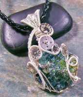 Steampunk Bismuth Crystal and Silver Pendant by HeatherJordanJewelry