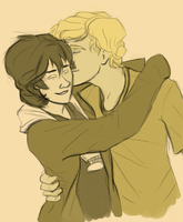 Cute kisses from solangelo by LittlePuppyWolf