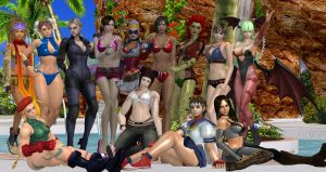 Poolside Paradise with Video Game Ladies by cablex452