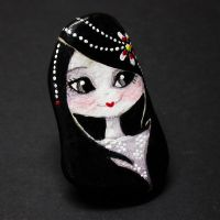 Hand Painted Doll Brooche Lucy by 1anina