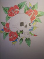 Skull with Roses by Crynuh