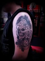 Skull roses Crow raven stopwatch cross tattoo by CalebSlabzzzGraham