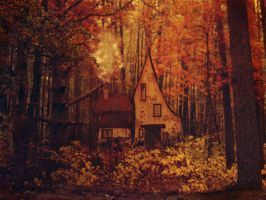 Forest Cottage- Premade Background by la-voisin