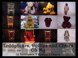 Teddybears, Dollies and Chairs by TatteredButterfly