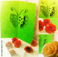 Green butterfly with roses by LilithDarck