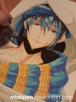 Free! - Iwatobi Swim Club Haruka Copic drawing by Mistiqarts