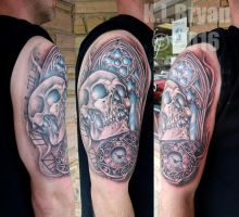 Skull, Watch, Window half sleeve Tattoo COMPLETE by danktat