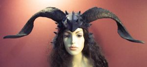 Goat Horn Leather Fantasy Helm by TomBanwell