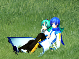 [MMD] Miku and Kaito Sitting on Grass by xXONIONSXx