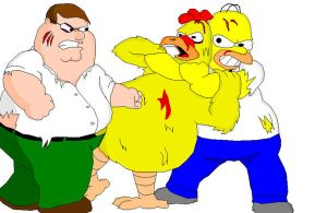 homer and peter vs chicken by d-latt