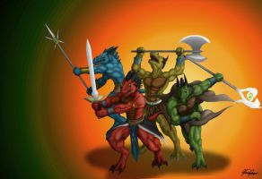 Might of the Drakatos Warriors by TargonRedDragon