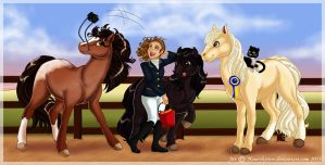 Commission: A rider and her Horses by Honeykitten