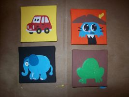 Mini cartoon paintings by JamieCosley