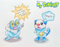 Froakie and Oshawott by mypokeart