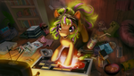 MLP FIM: Commission - Starbuck playing video games by hinoraito