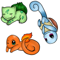 Pokemon Keychains: Kanto Starters by SoundlessOrchid