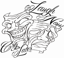 Laugh Now Cry Later Masks Tattoo by Metacharis