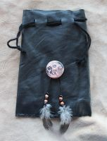Leather Bear Drawstring Pouch by lupagreenwolf
