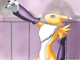 Renamon Facing Blue-Tyranomon by renadrawer