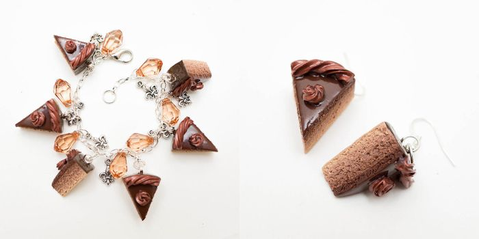 Chocolate cake bracelet and earrings set by FrozenNote