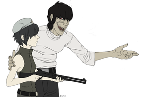 Murdoc and cyborg Noodle by NerryKirai