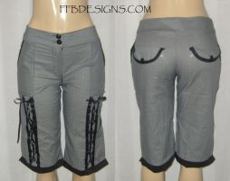 Gray corset laced capri pants by funkyfunnybone