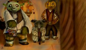 Halloween  Po, Tigress and Shifu. by bk-kam