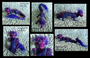 Adorable OOAK Purple Chinese Dragon Art Doll by CozmicDreamer