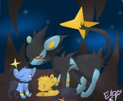 Luxray Family by echotheglaceon