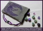 Hand Printed Phoenix Pouch: Tarot Pouch, Dice Bag by ImogenSmid