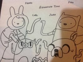 Finn and jake fionna and cake drawing by Ilovepuppys0417
