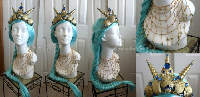 Sea Goddess Crown and Necklace by enchantedsea
