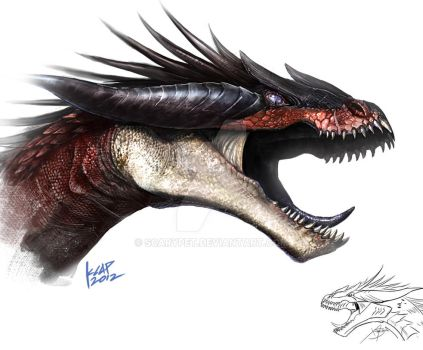Imaginasaurus dragon sketch by scarypet