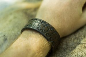Hand Made  Leather Bracelet (+2 to Strength) by yamori-san