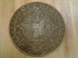 laser etched Aztec calendar by DrPeper2
