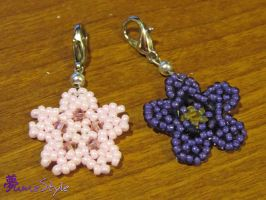 Beaded Flowers - Sakura and Violet by Sarinilli