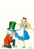 Mad hatter and Alice by palmcastle