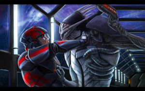 Saren vs Shepard by Sythgara
