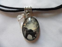 Black Cat and Moon Cabochon/Cameo Art Pendant by sevvysgirl