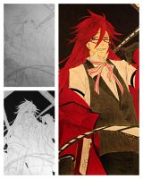 Grell Sutcliff sketch, inking, and coloring by jaybirdlovesart