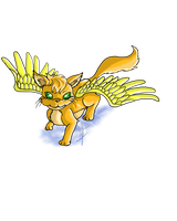 Catabird-The Golden Winged Feline Thing by Silverarte