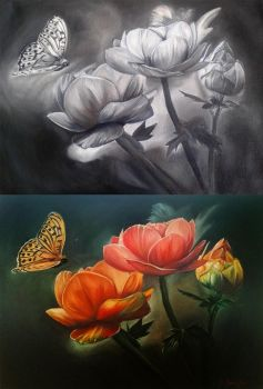 'Flowers and butterfly' with grisaille by Niruh