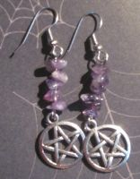 Amethyst Pentacle Earrings by NettleWillowwitch