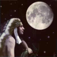 Native and the moon by realdarkwave