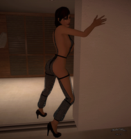 femShep new outfit- fishnet lingerie w. high heels by ShalaRaan