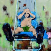 Worried child with his inseparable flip flops by Acrymat